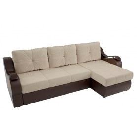 Угловой диван Меркурий, Бежевый/коричневый (вельвет/экокожа)
