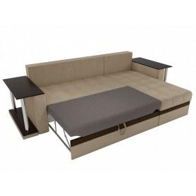 Угловой диван Атланта М 2 стола, Бежевый (вельвет)