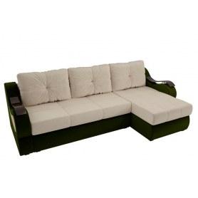 Угловой диван Меркурий, Бежевый/зеленый (вельвет)