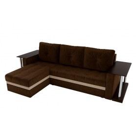 Угловой диван Атланта М 2 стола, Коричневый (вельвет)