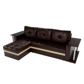 Угловой диван Атланта М 2 стола, Коричневый (экокожа)