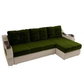 Угловой диван Меркурий, Зеленый/бежевый (вельвет)