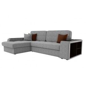 Угловой диван Брюссель, Серый/коричневый (рогожка)