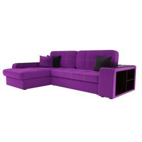 Угловой диван Брюссель, Фиолетовый/черный (вельвет)