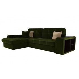 Угловой диван Брюссель, Зеленый/бежевый (вельвет)