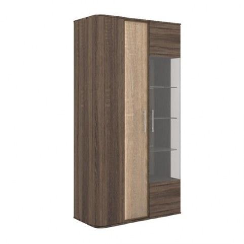 Шкаф-витрина Бруна 629.030 Сономе эйч темная/Сономе эйч светлая