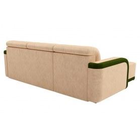 Угловой диван Марсель, бежевый/зеленый (велюр)