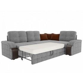 Угловой диван Николь, Серый\коричневый (рогожка)