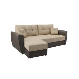 Угловой диван София, Рогожка бежевая / кож. зам. коричневый, с двумя декоративными подушками