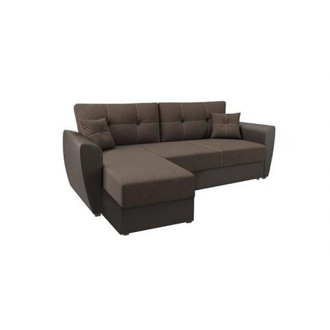 Угловой диван София, Рогожка коричневая / кож. зам. коричневый, с двумя декоративными подушками