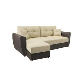 Угловой диван София, Рогожка кремовая / кож. зам. коричневый, с двумя декоративными подушками
