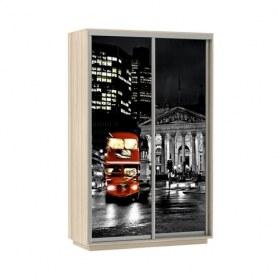 Шкаф-купе Дуо 1200x600x2400, фотопечать Ночной Лондон, шимо светлый