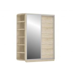 Шкаф-купе Медиум Дуо, со стеллажом, 1900х600х2200, с зеркалом, дуб сонома