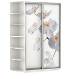 Шкаф-купе Дуо со стеллажом, 1900x600x2200, фотопечать Белая Орхидея, белый снег
