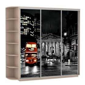 Шкаф-купе Трио, со стеллажом, фотопечать Ночной Лондон, 2400х600х2200, дуб молочный