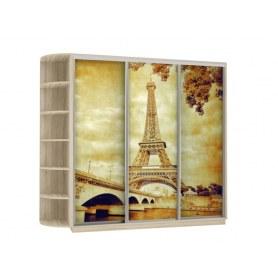 Шкаф-купе Трио, со стеллажом, фотопечать Париж, 2700х600х2400, дуб сонома