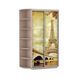 Шкаф-купе Дуо 1700x600x2200, со стеллажом, фотопечать Париж, дуб молочный