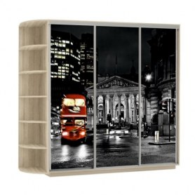 Шкаф-купе Трио, со стеллажом, фотопечать Ночной Лондон, 2400х600х2400, дуб сонома