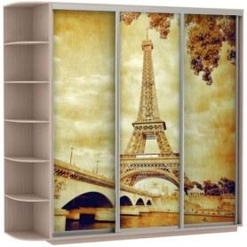 Шкаф-купе Трио, со стеллажом, фотопечать Париж, 2700х600х2200, дуб молочный