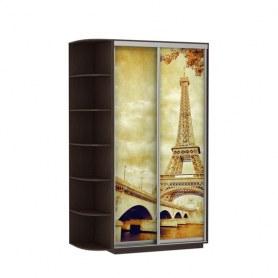 Шкаф-купе Дуо 1900x600x2200, со стеллажом, фотопечать Париж, венге