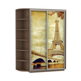 Шкаф-купе Дуо 1900x600x2400, со стеллажом, фотопечать Париж, шимо темный