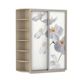 Шкаф-купе Дуо 1700x600x2400, со стеллажом, фотопечать Белая орхидея, шимо светлый