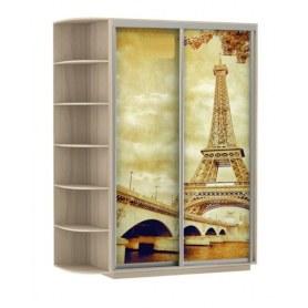 Шкаф-купе Дуо 1900x600x2200, со стеллажом, фотопечать Париж, шимо светлый