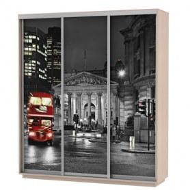 Шкаф-купе Трио фотопечать Ночной Лондон, 2400х600х2400, дуб молочный
