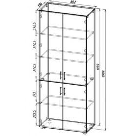Шкаф для документов ШС2, двери стекло, ясень шимо светлый