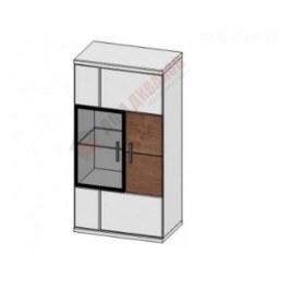 Шкаф навесной со стеклом Корано, правый, Бм.Кор-11, белый экспо/ольха текстурная
