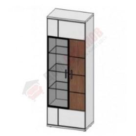 Шкаф витрина со стеклом правая Корано, Бм.Кор-02, белый экспо/ольха текстурная