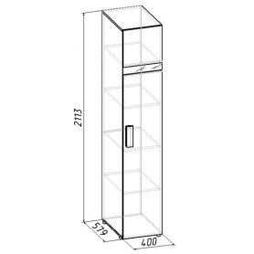 Шкаф Hyper 1 для белья, Фасад Венге правый