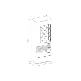 Шкаф витрина Wyspaa 1 Высокий + Фасад Бодега Светлый