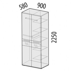 Розали 96.13 Шкаф двухдверный многофункциональный 900х580х2250