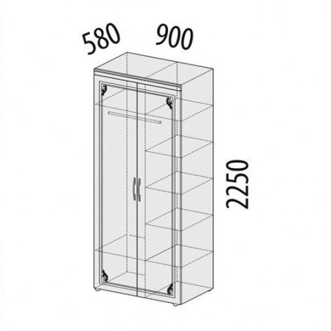 Версаль 99.13 Шкаф двухдверный многофункц. 900х580х2250
