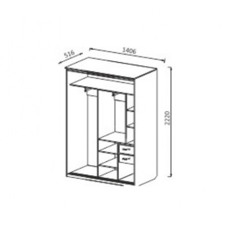 Шкаф-купе ШК4 2-х створчатый с ящиками