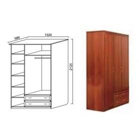 Шкаф трехстворчатый Надежда 7, с ящиками, цвет итальянский орех