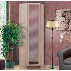 Шкаф угловой с зеркалом Камелия, шимо светлый/белый кожзам