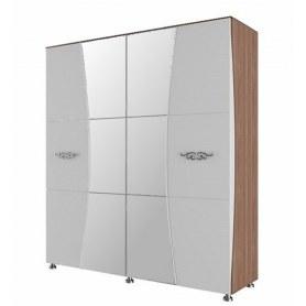 Шкаф четырехстворчатый Лагуна 7, (2м), шимо темный/жемчуг