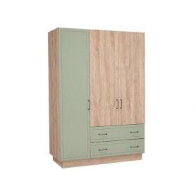 Шкаф трехдверный Ханна, М4, зеленая резеда/ясень дальневосточный