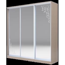 Шкаф-купе 3-х дверный 2400х2000х620 три зеркала, наполнение №1, рисунок