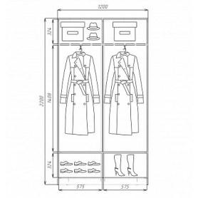 Шкаф-купе 2-х дверный  Хит-22-4-12/2-77-13, 2200х1200х420, фотопечать
