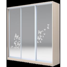 Шкаф-купе  3-х дверный 2200х1770х420 три зеркала, рисунок