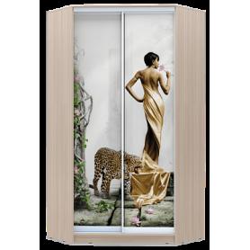 Шкаф-купе угловой, 2400х1103, ХИТ У-24-4-77-03, фотопечать Девушка с леопардом, шимо светлый