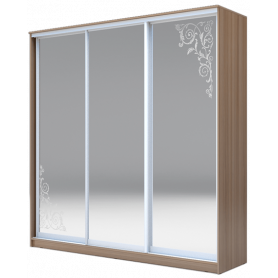 Шкаф-купе  3-х дверный 2200х2014х420 три зеркала, рисунок