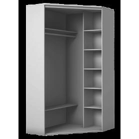 Шкаф-купе угловой, 2400х1103, ХИТ У-24-4-66-03, рисунок колибри, 2 зеркалами, белая шагрень