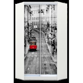 Шкаф-купе угловой, 2400х1103, ХИТ У-24-4-77-01, фотопечать Лондон трамвай, белая шагрень