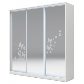 Шкаф-купе  3-х дверный 2200х2014х620 три зеркала, рисунок