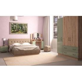 Спальный гарнитур Ханна, набор 1, дуб баррик/зеленая резеда
