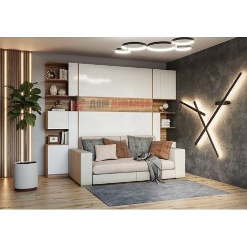 Кровать-шкаф с диваном Дина, 1600х2000, орех мрамора/белый